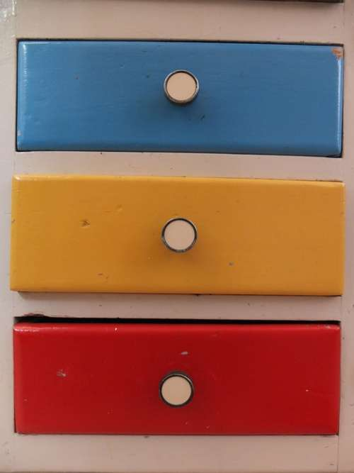 Drawers Cabinet Blue Yellow Red Color Knauf