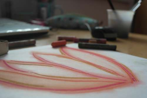 Drawing Flower Red Dusty Pastels