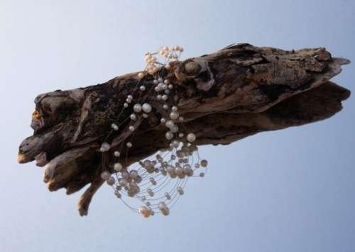 Drift Wood Beads Decoration Blue Mirror Jewellery