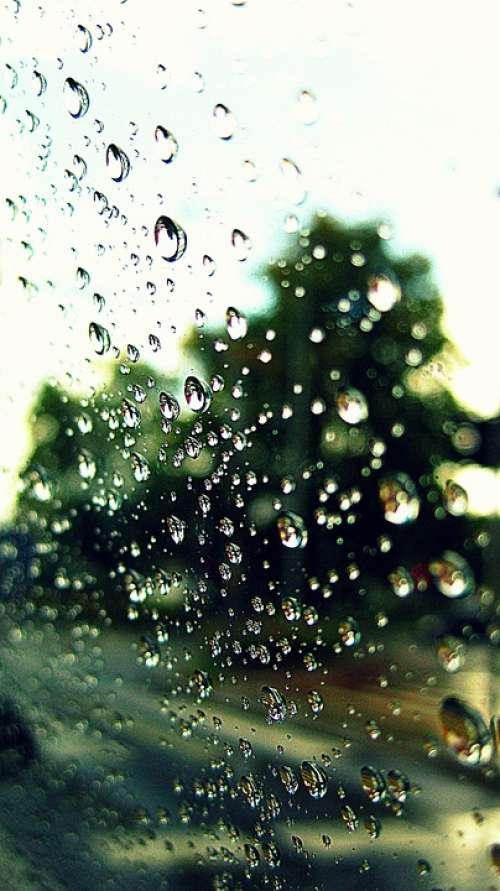 Drops Rain Water Pearls Element Bubble Window