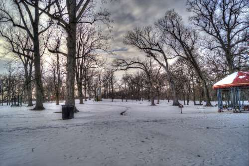 Druid Hill Park Baltimore Maryland Park Trees Snow