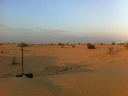 Dubai Desert Sunset Landscape Sand Hot Sand Dunes