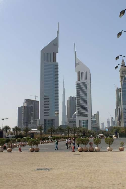 Dubai Skyscraper City Burj Kalifa Architecture Sky