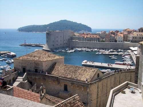 Dubrovnik Bay City Croatia Wall Port Forest