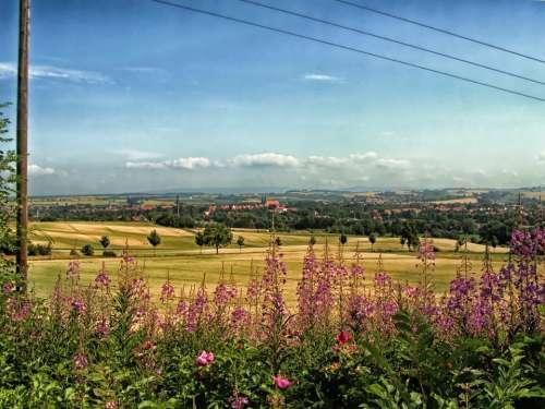 Duderstadt Germany Landscape Scenic Flowers Fields