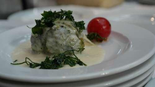 Dumpling Spinach Dumplings Parmesan Cheese Sauce