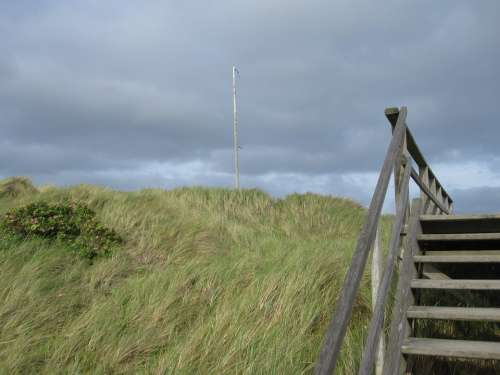 Dune Stairs Friesland Sea Emergence