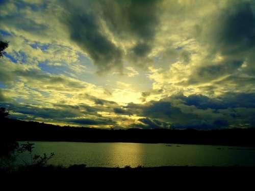 Dusk Sky Clouds Summer Setting Landscape Sunrays