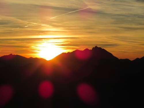 Dusk Mountains Alpine Sky Autumn Sunbeam