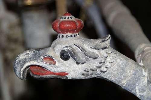 Eagle Head Carved Old Painted Wood Bird Head