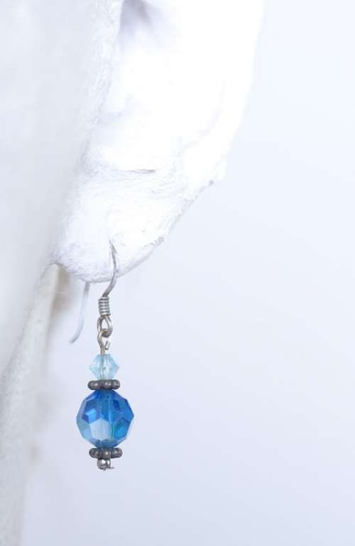 Earring White Blue Beauty Fashion Beautiful