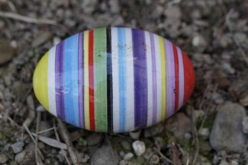 Easter Egg Ceramic Egg Colorful Striped Lost