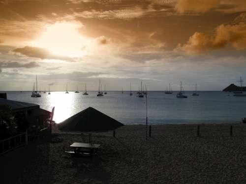 Eastern Caribbean Sunset Sea Ocean Water Boats
