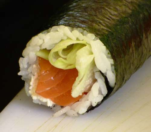 Eating Sushi Food Health Rice Sesame Algae