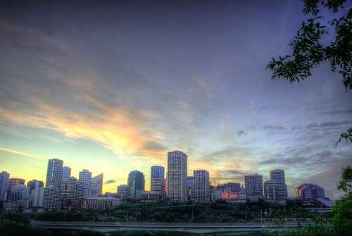 Edmonton Canada Sunset Dusk Evening Lights Sky