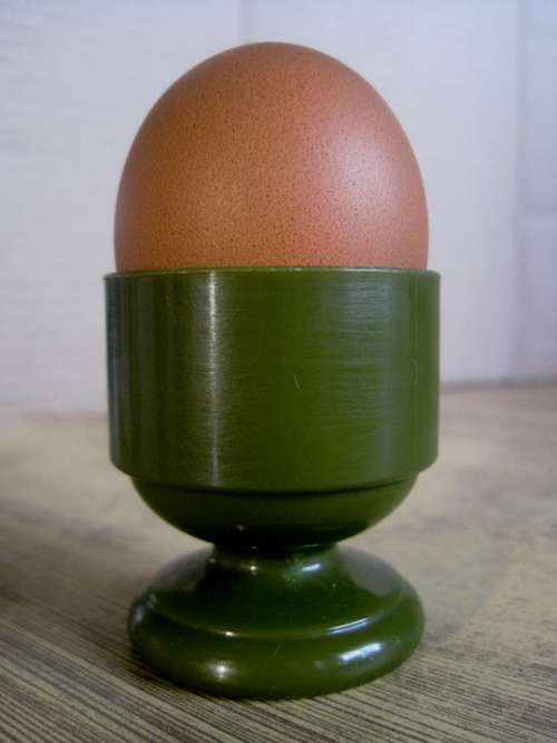 Egg Brown Cup Olive Green Plastic Breakfast