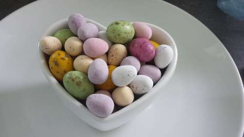Eggs Candy Bowl Easter Sweets Decoration