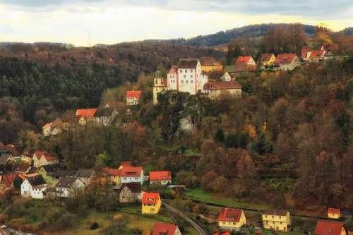 Egloffstein Germany Town Mountains Landscape