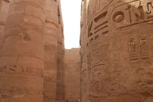 Egypt Old Imposing Stone Columnar Temple