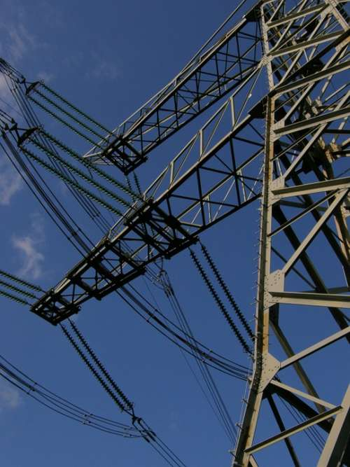 Electricity High Voltage Blue Sky