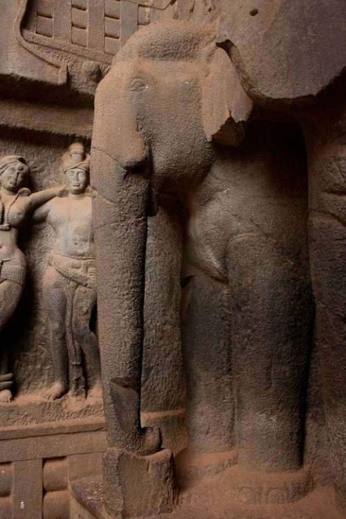 Elephant Statue Karla Caves Carved Stone India