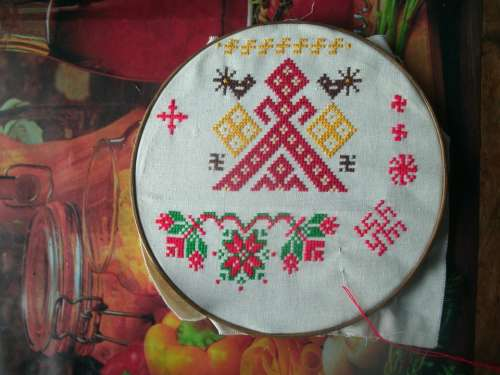 Embroidery Russian Cross Red Thread Hoop Needle