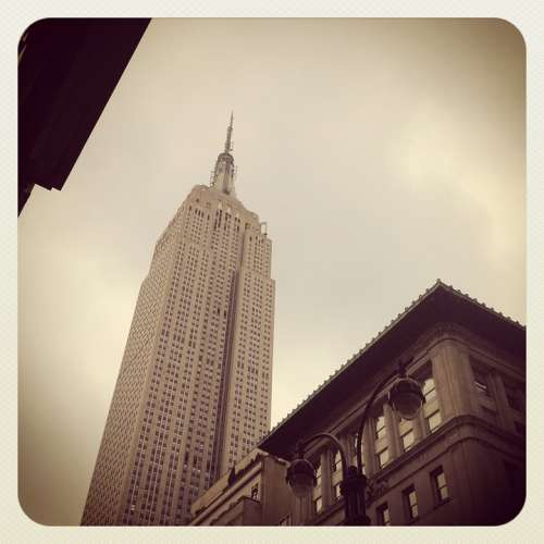 Empire State Building New York City Cloudy Day Nyc