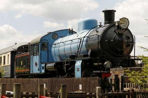 Engine Steam Rail Railways Vintage Old Blue