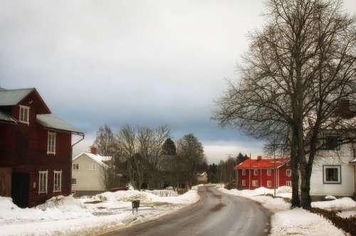Enviken Sweden Village Town Houses Homes Winter