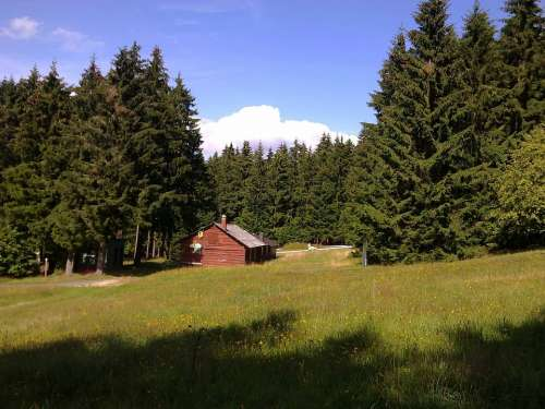 Erbeskopf Germany Landscape Log Cabin Forest Trees