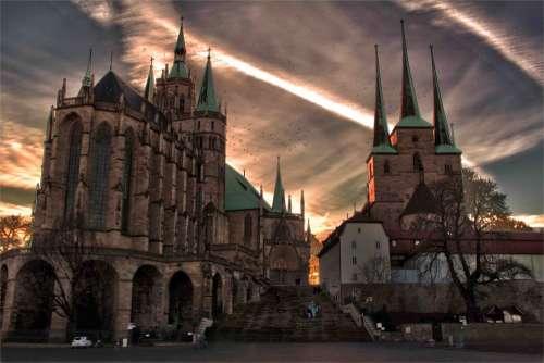 Erfurt Dom Religion Church Towers Spires Filter