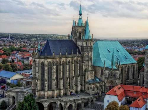 Erfurt Germany Cathedral Church City Cities Urban