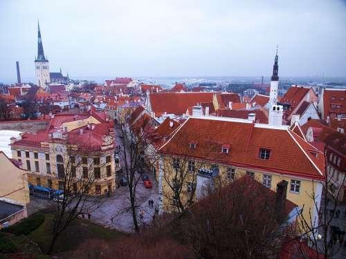Estonia Tallinn Old Town Town Sky Europe