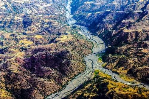 Ethiopia River Landscape Aerial View Hill
