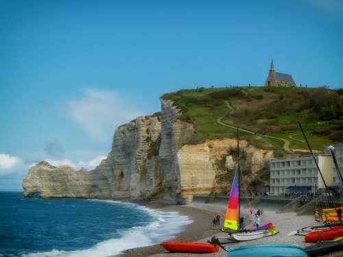 Etretat France Sea Ocean Water Waves Beach Boats