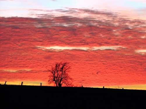 Evening Red Sunset Mood Dusk Clouds Sky