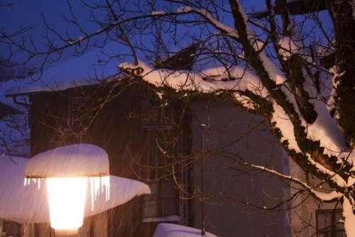 Evening Abendstimmung Lamp Street Lamp Winter Snow
