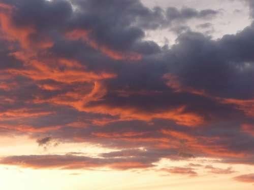 Evening Sky Sunset Weather Mood Clouds Afterglow