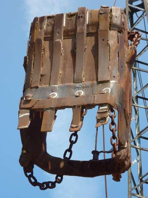 Excavators Backhoe Bucket Old Rusted Technology