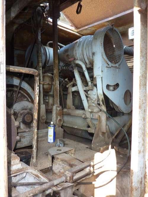 Excavators Excavator Engine Old Technology Rusted