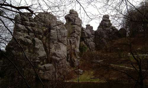 Externsteine Rock Lake Nature Landscape