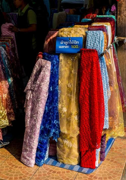 Fabric Towels Colorful Warorot Market Chiang Mai