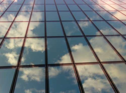 Facade Clouds Mirroring Architecture Sky