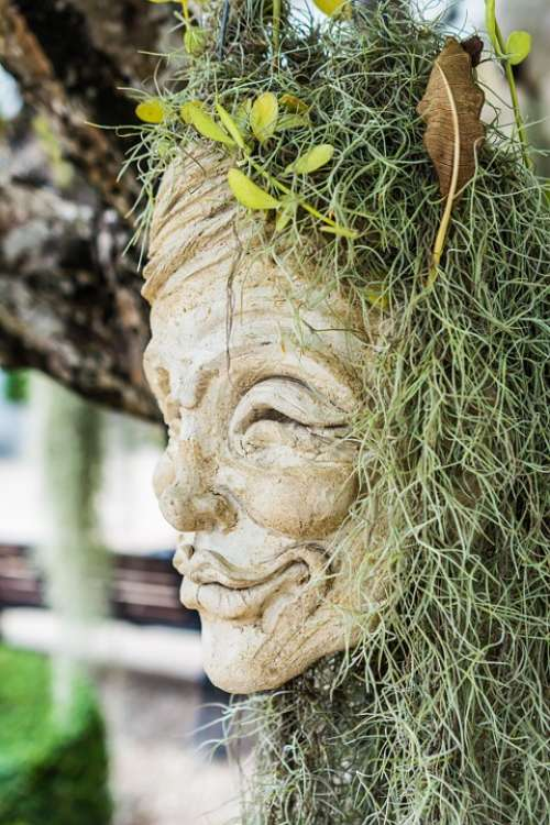 Face Head Mask Sculpture Stone Figure