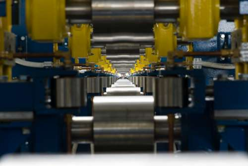 Factory Line Roller Rail Steel Perspective