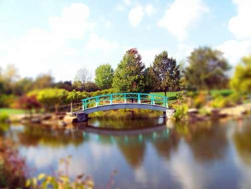 Fall Autumn Leaves Pond Bridge Park Trees Clouds