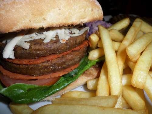 Fast Food Vegan Burger French Fries Junk Food
