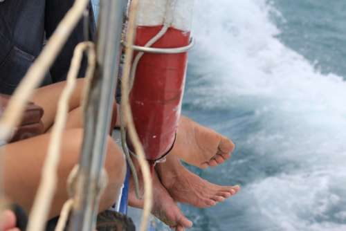 Feet Boat Travel Backpacking Vacation Sea Ferry