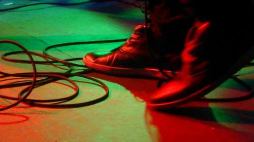 Feet Foot Band Stage Guitarist Cables