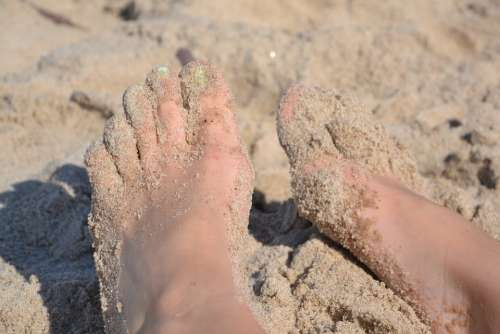 Feet Beach Sand The Baltic Sea Sea Summer Water